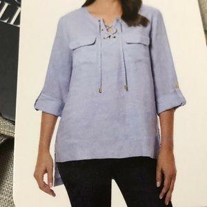 Ellen Tracy Company Shirt Blouse XL Tunic Linen